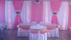 Оформление свадебного зала тканями, цветами.