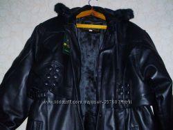 Зимнее пальто на подстёжке, кожа PU