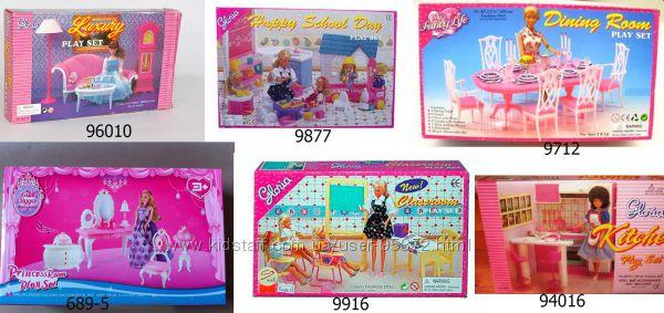 Мебель для Барби супермаркет, столовая-кафе, гостиная, спальня, кухня