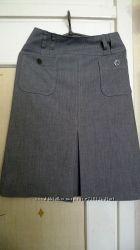 Юбка серая с карманами, р. 36, бу