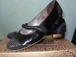 Туфли  балетки черные кожа  замша