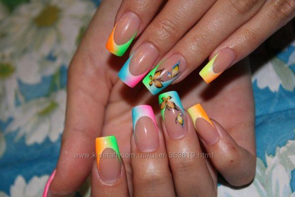 Фото дизайн с цветными гелями ногти