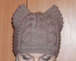 Вязаная шапка с ушками котошапка