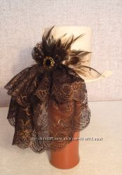 Декоративная шляпка ручной работы, фетр, натуральные перья, на обруче
