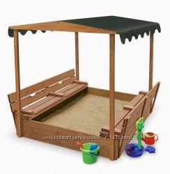 Песочница-4 деревянная, закрывается от дождя и с тентом