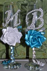 Свадебные бокалы, украшение на шампанское и др. свадебные аксессуары