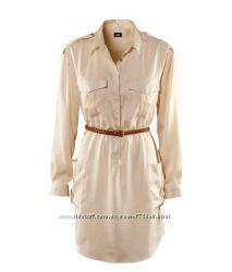 Платье-рубашка H&M атласное, с плетенным поясом