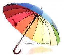 Шикарный зонт радуга, ручка натуральное дерево пр-во Венгрия