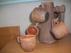 Кавовий набір з глини, ручна робота, сільничка в подарунок новий