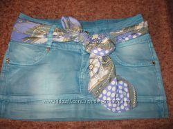 Котоновая юбочка цвета мяты-состояние новой
