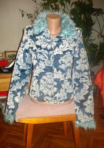 Пальто- Курточка, Голубое, Серое