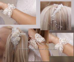 Обруч и браслет ручной работы, отличный набор для невесты