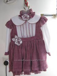 Платье с повязочкой на малышку велюр