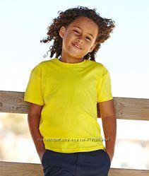 Цветные чистые детские футболки Fruit of the Loom Valueweight 100 хлопок