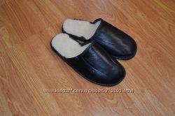 Тапочки кожаные на меху мужские