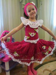 Вязаные платья для девочек. Вязание под заказ.