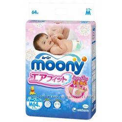 Японские подгузники и трусики NB, S, M, L , салфетки Moony Муни. Акция