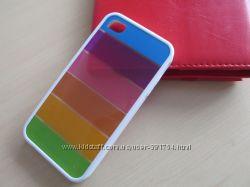 Оригинальный белый силиконовый чехол Радуга для 4 iPhone.