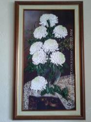 Картина лентами Хризантемы