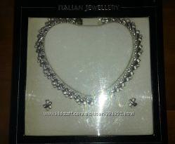 Комплект итальянской бижутерии под серебро