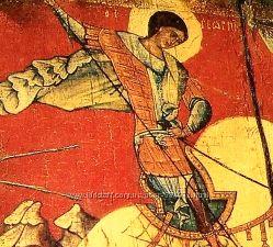 xv в. под старину икона Св. Георгий Победоносец деревянньіе иконьі