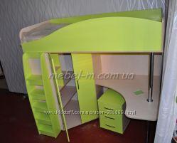 детская кровать-чердак с рабочим местом на заказ