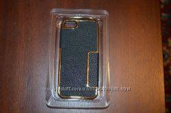 Чехол Золотой с кожаной вставкой для iPhone 5