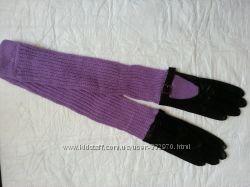 Перчатки кожаные с длиным манжетом, новые