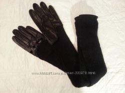 Перчатки с трикотажным манжетом по плече, новые