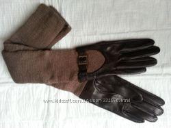 Перчатки  кожаные с трикотажным манжетом