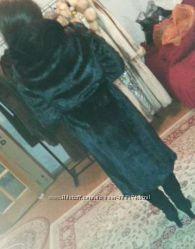 Шикарная норковая шуба Италия черный бриллиант с капюшоном