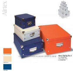 Коробки картонные покрытые тканью с металлическими углами и ручками