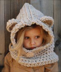 Стильные шапки- капюшоны для девочек