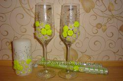Необычные свадебные наборы и бокалы
