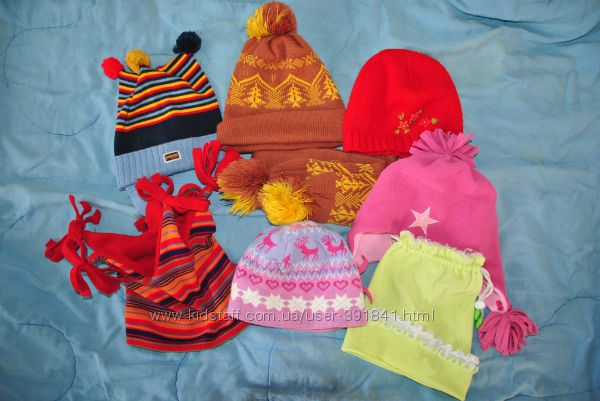 разные шапки на 3-7 лет