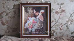 Картина бисером Девушка с букетом