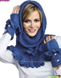 Тёплые митенки и манишка или шарф - снуд вязаные крючком