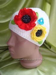 эксклюзивная весеняя шапка вязаная крючком