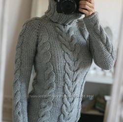 Теплые свитера с косами. Ручная работа.
