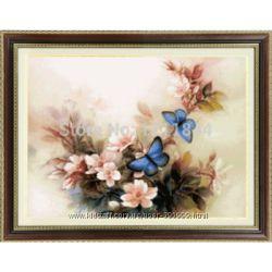Наборы для вышивки крестом 3D Голубые бабочки и Летний домик