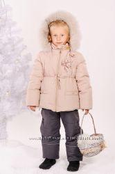 Зимняя куртка Ваниль, натуральный мех, ТМ Модный карапуз, 98, 104, 110, 116