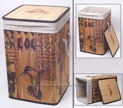Складные корзины из бамбука с тканью -есть наборы