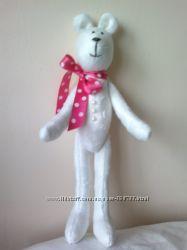 Плюшевый белый мишка, ручная работа