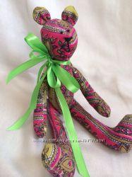 Цветной мишутка, ручная работа Мишка тильда игрушка мягкая подарок