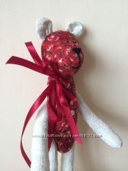 Мишка вишенка, ручная работа игрушка для дочки подруги мамы подарок