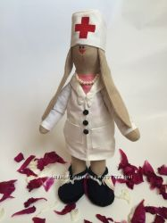 Под заказ врач зайка, ручная работа медсестра подарок