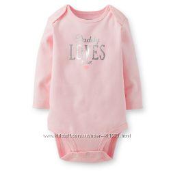 Нежный боди для папиной принцессы с длинным рукавом Carters розового цвета