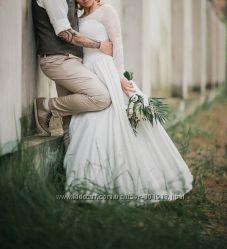 Свадебное кружевное платье. Идеально для рустик стиля