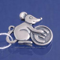 сувенир Мышь кошельковая с Евро. Серебро 925