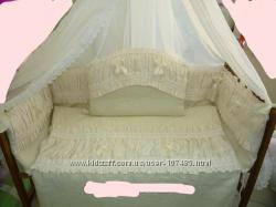 Постельный комплект в кроватку  Жемчужный Лён жаккард  держат. для балдахи